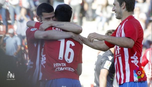 Festa pelo lado do Girona neste grande triunfo (Foto: Divulgação/La Liga)