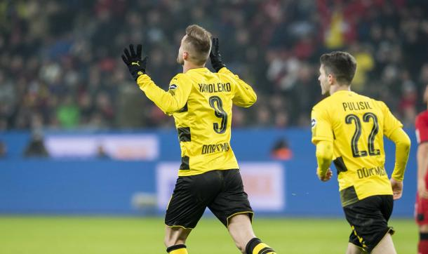 Yarmolenko celebra el gol ponía el empate de su equipo ante el Leverkusen/Foto:Borussia Dortmund