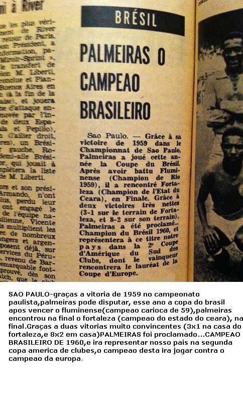 Revista francesa em 1960 aponta o Palmeiras como campeão brasileiro. (Foto: Divulgação via Odir Cunha)