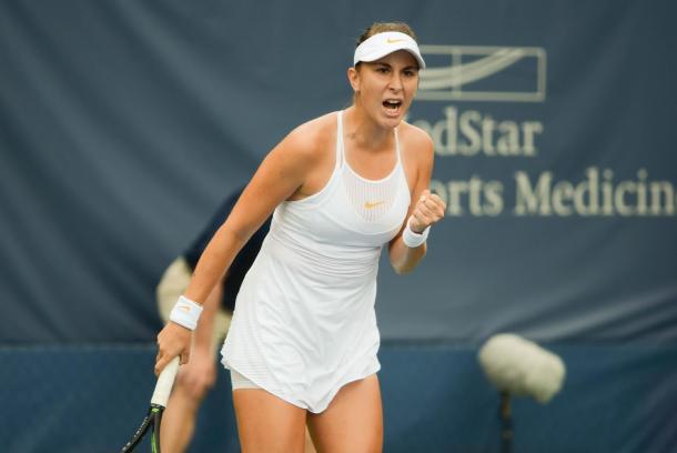 Belinda Bencic celebrates winning the second set | Photo: Noel John Alberto / VAVEL USA Tennis