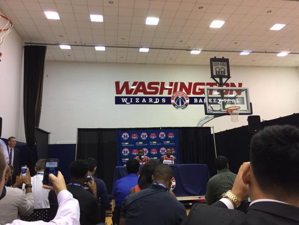 John Wall and Bradley Beal addressed a wide variety of topics while at the podium. Photo: Raj Sawhney