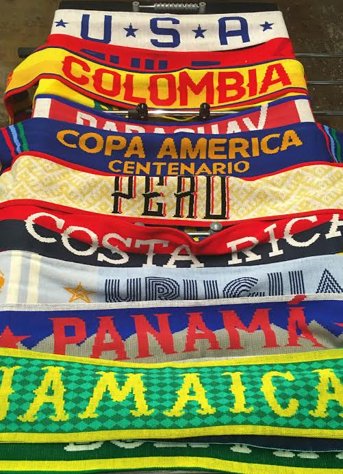 The Copa America collection features an array of tints, tones, and text patterns for any participating nation | Photo: Diehard Scarves