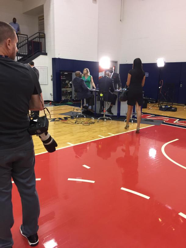 Some of the Wizards' TV broadcasters prepare for media day. Photo: Raj Sawhney
