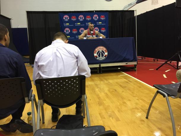 Marcin Gortat shows off his new haircut to the press. Photo: Raj Sawhney