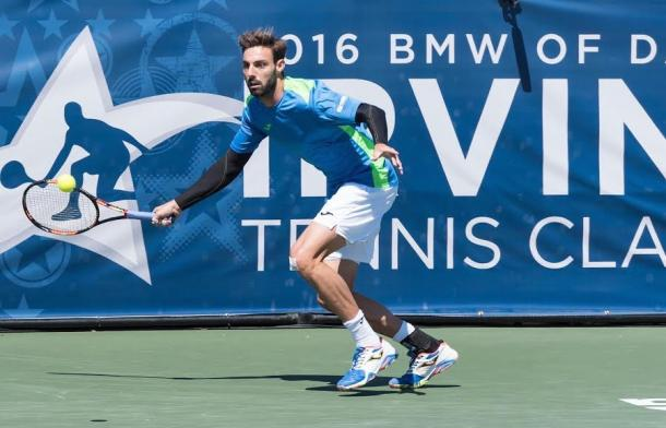 Marcel Granollers stretches out for forehand in ITC final. (Photo Credit: Tara Kramer Photography)