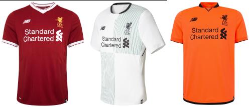 De izquierda a derecha, la primera, segunda y tercera camisetas. | Imágenes: www.liverpoolfc.com
