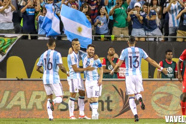 Argentina celebrates a second half goal by Messi, one of three for the game during COPA Centenario match between Argentina - Panama on Friday June 10th, 2016