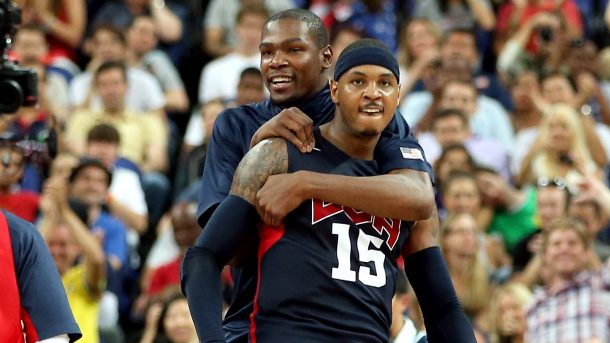 Carmelo Anthony and Kevin Durant look to lead Team USA at the Rio 2016 Olympics. Photo: Getty Images