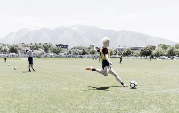 Megan Rapinoe at training in Sandy, Utah | Photo: US Soccer