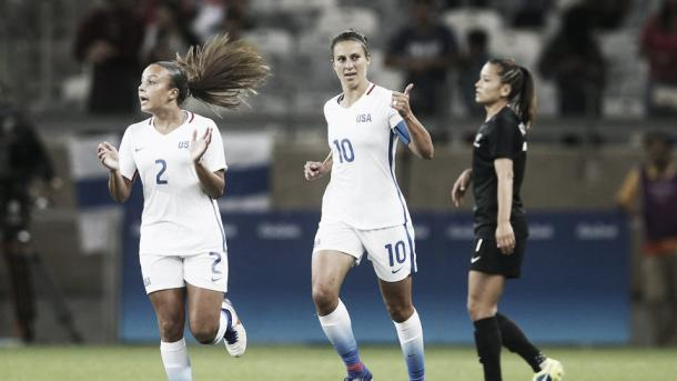 Carli Lloyd opened the scoring for the USA. Photo: Twitter @ussoccer_wnt