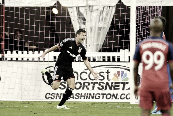 Pontius celebrating a goal while with D.C. United. | Photo: Brad Mills-USA TODAY Sports