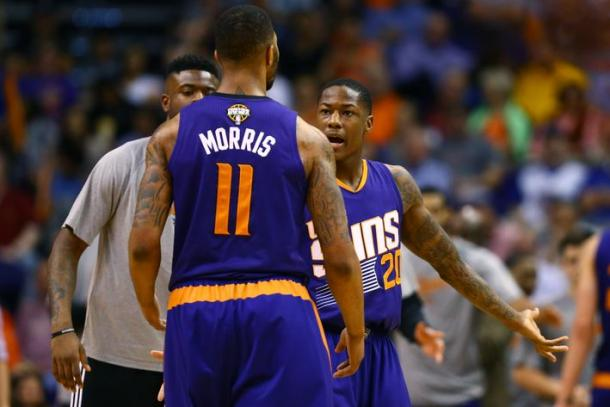 Archie Goodwin (20) and Markieff Morris have squabbled in the past, and it may result in one or both of them being shipped out of Phoenix (Mark J. Rebilas/USA Today Sports)