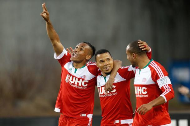 Juan Agudelo (Left), Charlie Davies (Center) and Teal Bunbury (Right) are just a few of the weapons of New England's offense. Photo provided by Greg M. Cooper-USA TODAY Sports.