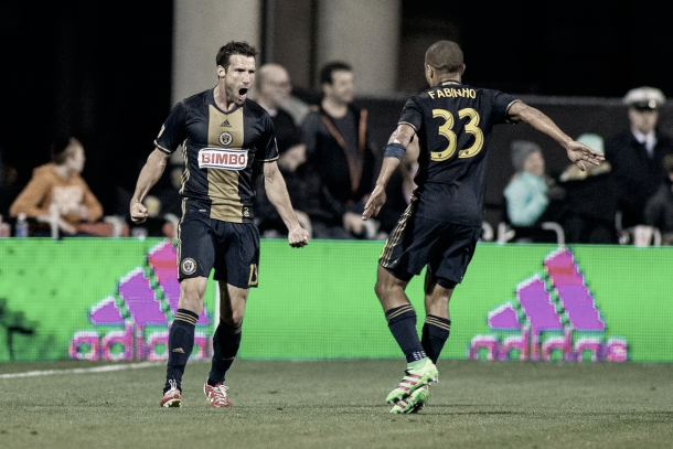 Pontius celebrating a goal with Fabinho while with the Union. | Photo: Trevor Ruszkowski-USA TODAY Sports