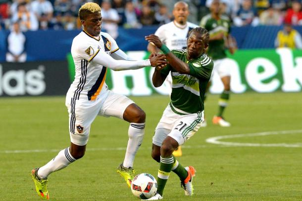 The majority of the game was spent fighting for possession. The Portland Timbers game plan was to slow down the Los Angeles Galaxy and catch them on the counter on Sunday at StubHub Center. Photo provided by USA TODAY Sports.