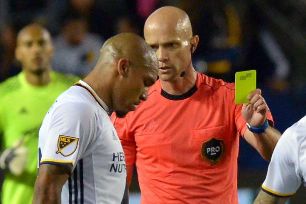 Nigel De Jong receiving the yellow card for the tackle on Darlington Nagbe on Sunday at StubHub Center. Photo provided USA TODAY Sports.