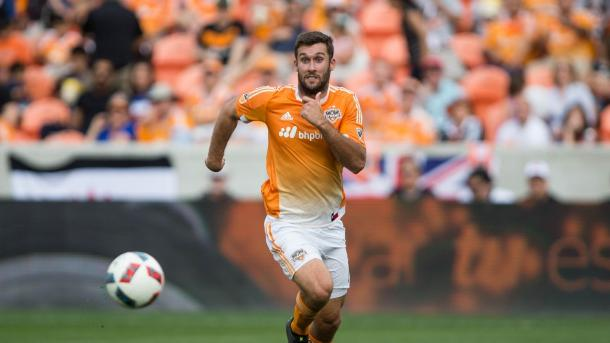 The Galaxy's defense were able to slow down Houston's Will Bruin on Friday at BBVA Compass Stadium. Photo provided by USA TODAY Sports.