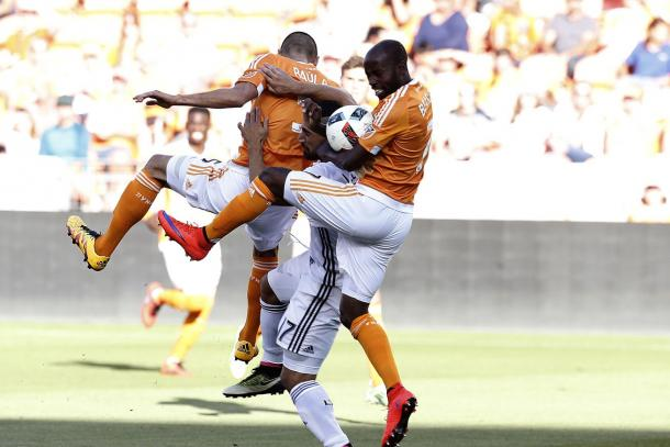 Sebastian Lletget (Center, in between the two Houston defenders) effort on Friday caused the Houston's defense a headache. The best way to slow him down was fouling him at BBVA Compass Stadium. Photo provided by USA TODAY Sports.