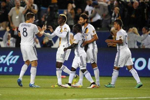 The Los Angeles Galaxy had a lot of reasons to celebrate on Saturday and Emmanuel Boateng (Center) was involved in three of the five goals LA scored on Saturday. Photo provided USA TODAY Sports.