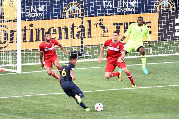 The Philadelphia Union's Roland Alberg (6) takes a shot against the Chicago Fire in their last meeting back in June   Source: Eric Hartline - USA TODAY Sports