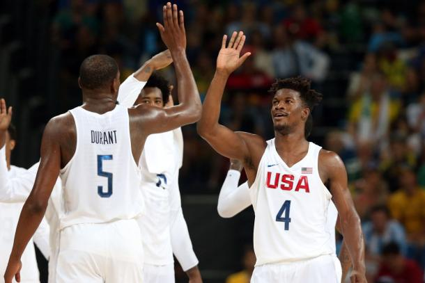 2016; Rio de Janeiro, Brazil; USA forward Jimmy Butler (4) celebrates with USA forward Kevin Durant (5) against Argentina