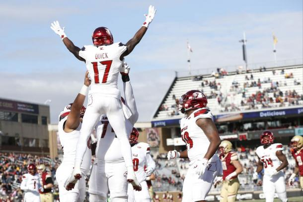 James Quick celebrates one of his two scores on the day. | Greg M. Cooper-USA TODAY Sports