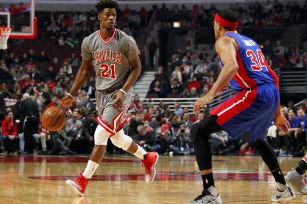 Dec 19, 2016; Chicago, IL, USA; Chicago Bulls forward Jimmy Butler (21) looks to pass while Detroit Pistons forward Tobias Harris (34) guards during the first half of the game at United Center. |Caylor Arnold-USA TODAY Sports|