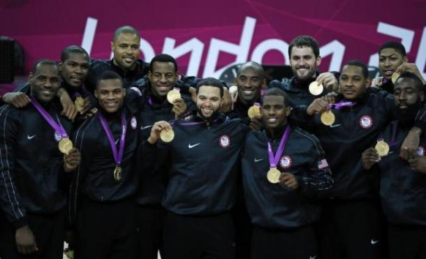 The 2012 Gold-medal USA Men's National Team champions at the 2012 summer Olympics in London.