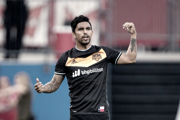 The Houston Dynamo will be without A.J. DeLaGarza. | Photo: Jerome Miron-USA TODAY Sports