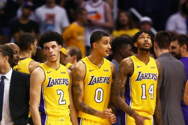 Los Angeles Lakers guard Lonzo Ball (2) with forward Kyle Kuzma (0) and forward Brandon Ingram (14) against the Phoenix Suns |Mark J. Rebilas-USA TODAY Sports|