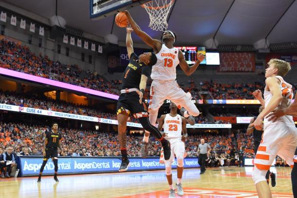 Paschal Chukwu blocks Maryland's Anthony Cowan's during the Big Ten-ACC Challenge in Syracuse/Photo: Rich Barneas/USA Today Sports
