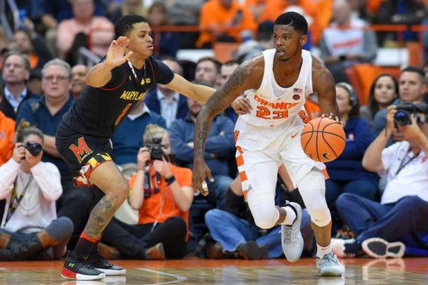 Frank Howard (r.) tries to dribble past a Maryland defender at the Carrier Dome/Photo: Rich Barnes/USA Today Sports