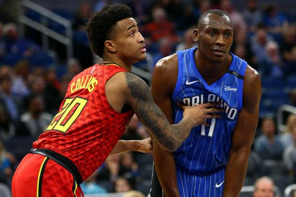 Atlanta Hawks forward John Collins (20) against Orlando Magic center Bismack Biyombo (11) |Aaron Doster-USA TODAY Sports|