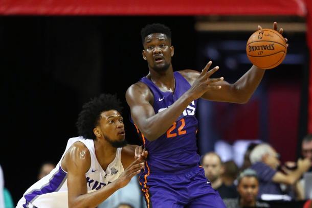 Phoenix Suns center Deandre Ayton (right) against Sacramento Kings forward Marvin Bagley III during an NBA Summer League game | Mark J. Rebilas-USA TODAY Sports|