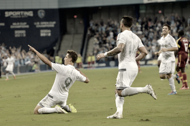 Krisztian Nemeth celebrating goal in Sporting Kansas City colors. | Photo: Peter G. Aiken-USA TODAY Sports