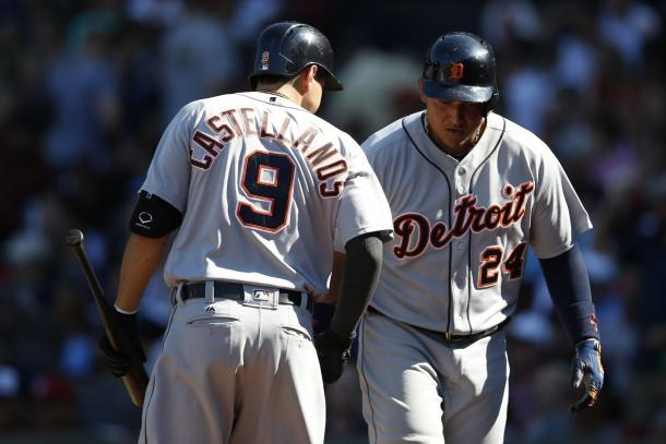 Detroit Tigers third baseman Nick Castellanos (9) congratulates first baseman Miguel Cabrera (24) on hitting a solo home run against the Boston Red Sox. |Greg M. Cooper-USA TODAY Sports|