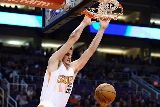 Phoenix Suns forward Dragan Bender (35) dunks the ball in the first half of the NBA game against the Miami Heat. |Jennifer Stewart/USA TODAY Sports|
