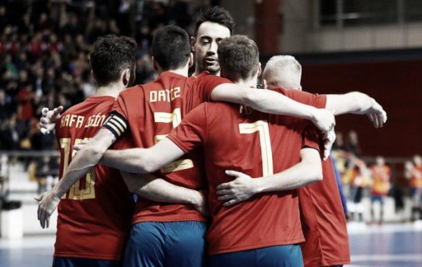 Los jugadores españoles celebran uno de los goles | Foto: @InterMovistar