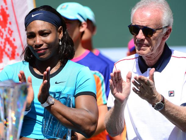Serena is joined by Moore at the women's final trophy presentation. Credit: Associated Press