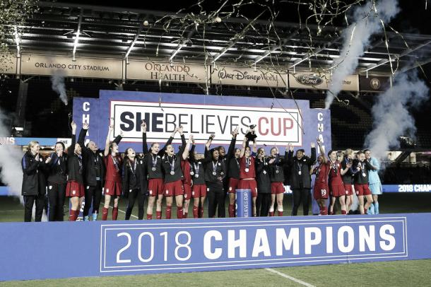 The United States celebrates their 1-0 over England on March 7, 2018 to win the third annual SheBelieves Cup in Orlando, FL. | Photo: Alex Menendez/Getty Images