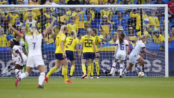 The USWNT celebrate the opening goal | Source: cbssports.com