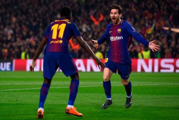 Dembélé e Messi marcaram na primeira etapa | Foto: Josep Lago/AFP/Getty Images