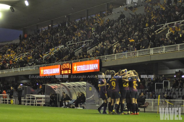 Jugadoras del FC Barcelona celebrando un gol. FOTO: Eduardo Ariño