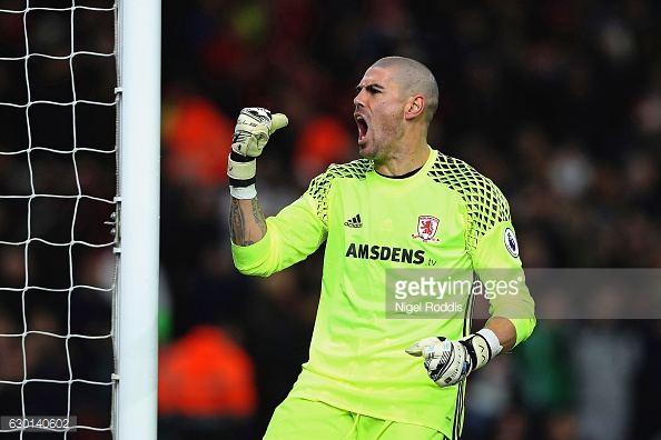 Valdes celebrated Middlesbrough's third goal in their last match against Swansea | Photo: GettyImages/Nigel Roddis