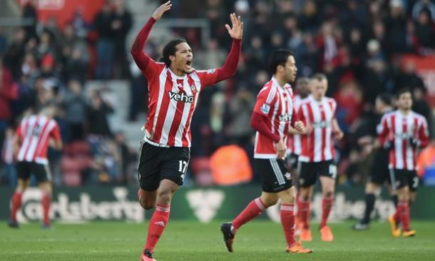 Virgil Van Dijk celebrates his equaliser (Source:The Guardian)