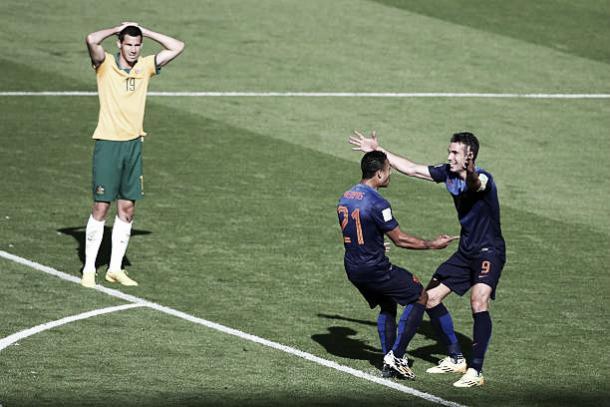 Ryan McGowan(19) lamenta o gol da Holanda na Copa do Mundo 2014 (Fonte: Getty Imagem)