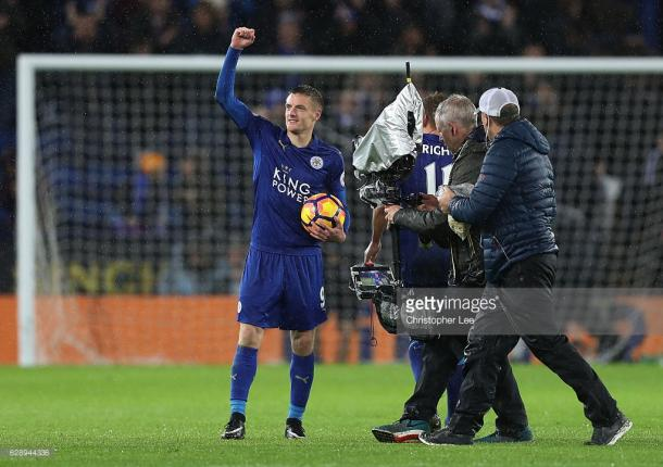 Jamie Vardy claims the match-ball against Manchester City