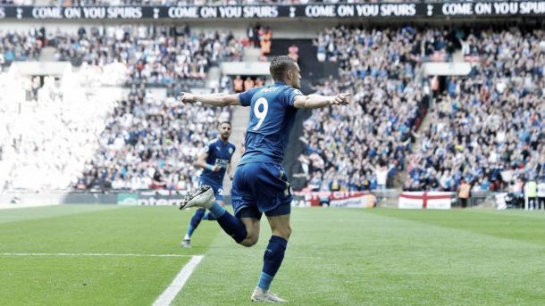 Vardy anotó en el último partido del Leicester. Foto: Premier League.