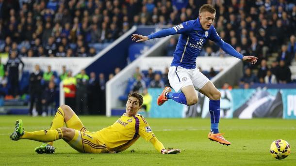 Vardy, en un partido con el Leicester la pasada temporada | Foto: The Telegraph