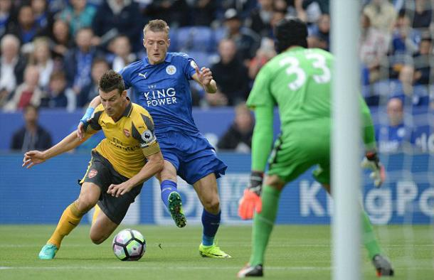 Vardy struggled to get into the game against the Gunners | Photo: Getty
